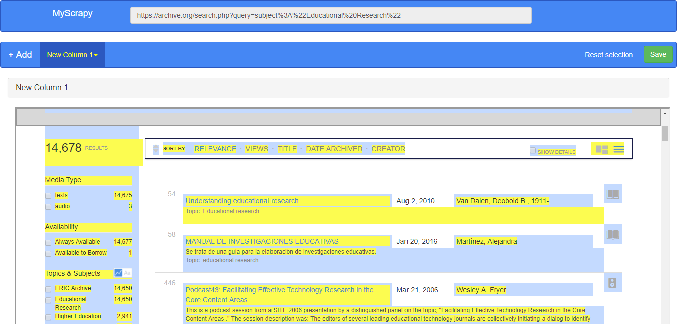 Archive org Extract Detail Page URL