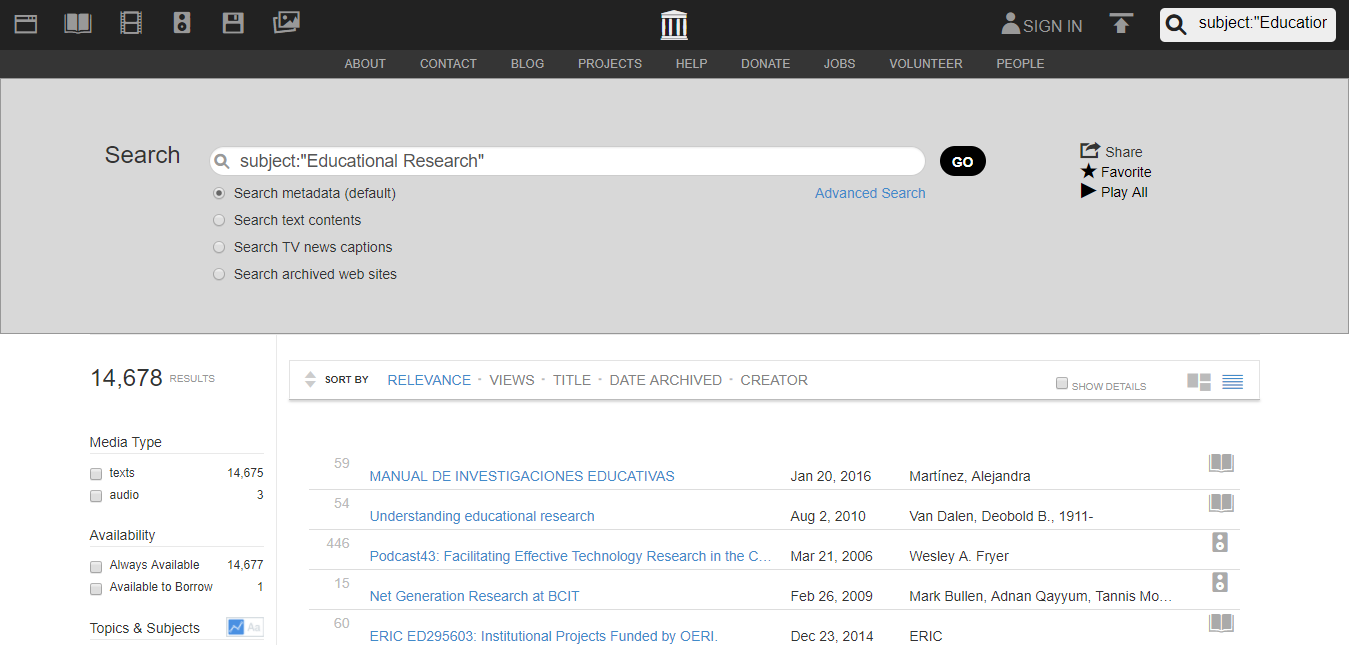 Internet Archive Search Educational Research