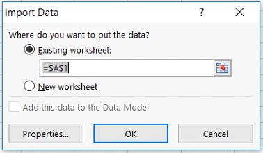 Data Dialog Box