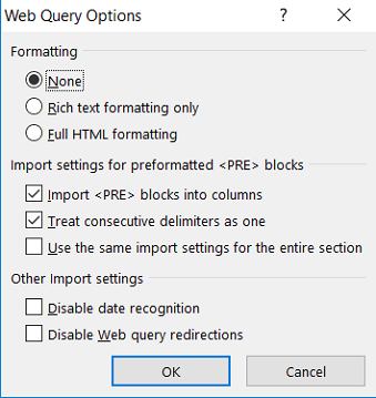 Web Query Option